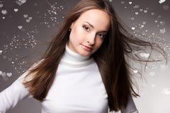Mulheres bonitas no fundo do Valentim Fotos de Stock Royalty Free