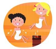 Mulheres bonitos/amigos que relaxam em uma sauna quente Fotografia de Stock Royalty Free