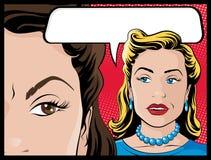 Mulheres cômicas da bisbilhotice do estilo Fotos de Stock Royalty Free