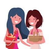 Mulheres com a cubeta do roupa de banho e da areia ilustração stock