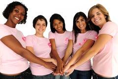 Mulheres com a fita da consciência do cancro da mama Fotografia de Stock Royalty Free