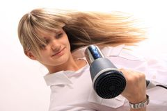 Mulheres com hairdryer Foto de Stock Royalty Free