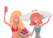 Mulheres com parcela de melancia à disposição no fundo branco ilustração stock
