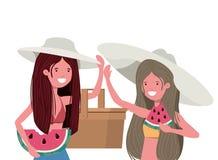 Mulheres com parcela de melancia à disposição no fundo branco ilustração royalty free