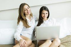 Mulheres com um portátil Imagem de Stock