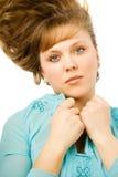 Mulheres consideravelmente novas no azul Imagens de Stock