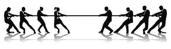 Mulheres contra a competição do conflito do negócio dos homens ilustração do vetor