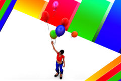 mulheres 3d que guardam balões Fotos de Stock Royalty Free