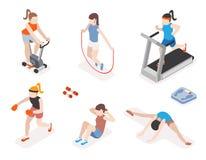 Mulheres da aptidão no gym, no exercício da ginástica e na ioga Fotografia de Stock