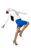 Mulheres da beleza na camisa branca e na saia azul imagens de stock