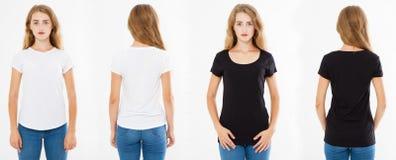 Mulheres da colagem no tshirt branco e preto, opiniões traseiras dianteiras do t-shirt ajustado da mulher, placa foto de stock royalty free
