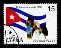 Mulheres da federação, 40th aniversário da federação do serie cubano das mulheres, cerca de 2000 Foto de Stock Royalty Free