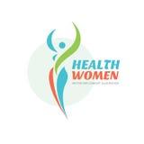 Mulheres da saúde - molde do logotipo do vetor Sinal saudável Símbolo do salão de beleza Ilustração do conceito da mulher da apti ilustração royalty free