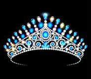Mulheres da tiara da coroa com as pedras preciosas de brilho ilustração do vetor