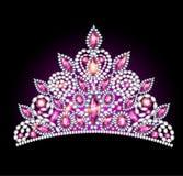 Mulheres da tiara da coroa com pedras preciosas cor-de-rosa ilustração royalty free