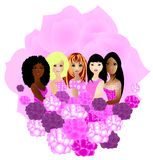 Mulheres de afiliações étnicas diferentes junto ilustração royalty free