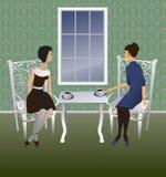 Conversa de duas mulheres. ilustração do vetor