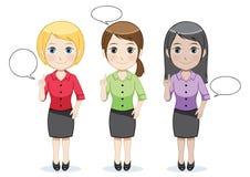 Mulheres de funcionamento com bolha do discurso ilustração royalty free