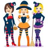 Mulheres de Halloween Fotografia de Stock