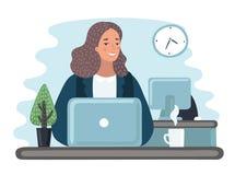 Mulheres de negócio da ilustração com originais no escritório - vetor ilustração royalty free