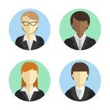 Mulheres de negócio dos Avatars nos trajes de nacionalidades diferentes Projeto liso Imagem de Stock Royalty Free