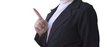Mulheres de negócio que apontam o dedo para esvaziar o espaço imagens de stock