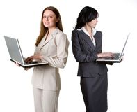 Mulheres de negócios do portátil Imagem de Stock Royalty Free