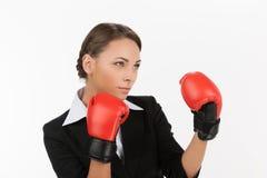 Mulheres de negócios em luvas de encaixotamento. Foto de Stock Royalty Free