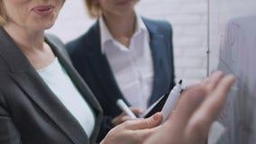 Mulheres de negócios que discutem o projeto bem sucedido, olhando a informação a bordo filme