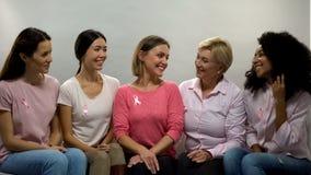 Mulheres de sorriso com as fitas cor-de-rosa que compartilham da experiência, conscientização do câncer da mama imagens de stock