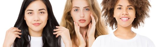 Mulheres diferentes asiático da afiliação étnica, africano, cuidado caucasiano da cara da pele da beleza Retrato do close-up, da  imagem de stock