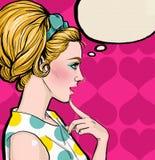 Mulheres do pop art com as sapatas nas mãos Tempo da compra Tempo da venda e do disconto Imagens de Stock