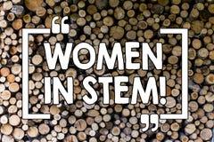 Mulheres do texto da escrita da palavra na haste Conceito do negócio para o cientista Research da matemática da engenharia da tec fotos de stock