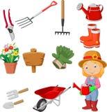 Mulheres dos desenhos animados que guardam a ferramenta de jardinagem molhando Foto de Stock