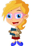 Mulheres dos desenhos animados que guardam o livro Fotos de Stock Royalty Free