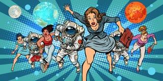 Mulheres e astronautas que correm no futuro no espaço ilustração stock