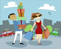 Mulheres e compra 1 Fotografia de Stock