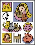 Mulheres e gatos ilustração do vetor