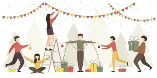 Mulheres e homens com decorações do Natal ilustração do vetor