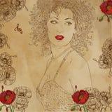 Mulheres e mulher do fundo da noite do leão que senta o adventureportrait cômico da mulher bonita, cabelo encaracolado com flores Imagem de Stock Royalty Free