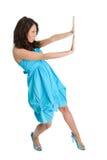 Mulheres elegantes que empurram o copyspace fotos de stock