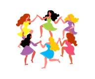 Mulheres em volta da dança Mulheres com mãos longas da posse do cabelo e dos vestidos Ilustração do vetor o 8 de março ilustração do vetor