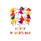 Mulheres em volta da dança e dos corações As mulheres dançam nos círculos, guardando as mãos ilustração stock