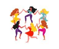 Mulheres em volta da dança Seis mulheres guardam as mãos Ilustração do vetor o 8 de março ilustração royalty free