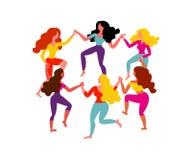 Mulheres em volta da dança Seis mulheres guardam as mãos Ilustração do vetor o 8 de março ilustração stock