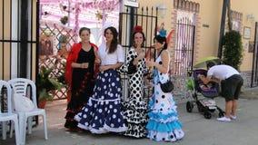 Mulheres espanholas no vestido do flamenco Fotos de Stock Royalty Free