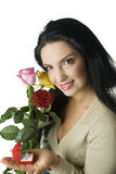 Mulheres felizes com anel de diamante Fotos de Stock Royalty Free