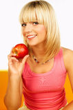 Mulheres felizes com frutas Imagens de Stock