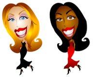 Mulheres felizes da forma dos desenhos animados ilustração do vetor