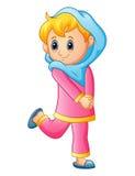 Mulheres felizes da menina que vestem o véu azul e a roupa cor-de-rosa isolados no fundo branco ilustração royalty free